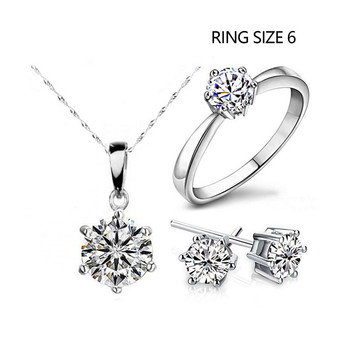 Fashion Silver Color Cubic Zircon Jewelry Sets Hot Promotions Jewelry Jewelry Sets Women Jewelry Metal Color: Sliver Ring Size: 6