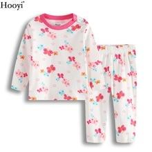 Hooyi розовая бабочка комплекты одежды для маленьких девочек модные пижамы для девочек костюм детские футболки брючный костюм пижамы хлопок топы