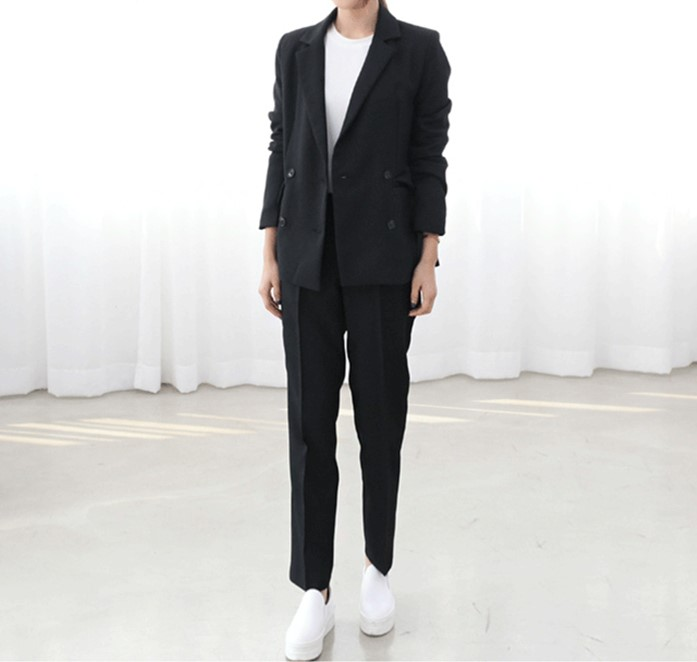 Set female 2019spring and autumn new fashion was thin professional casual two-piece temperament solid color wild women's clothes