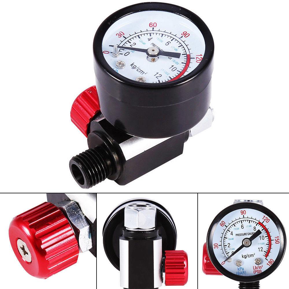 1/4 BSP Adjust Air Pressure Regulator Gauge HVLP Spray Gun Set W/ Diaphragm Control