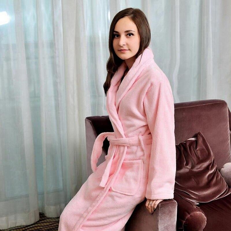 Cotton women bathrobe men pajamas nightgown girls towel fleece thick warm long soft XL autumn winter white pink blue