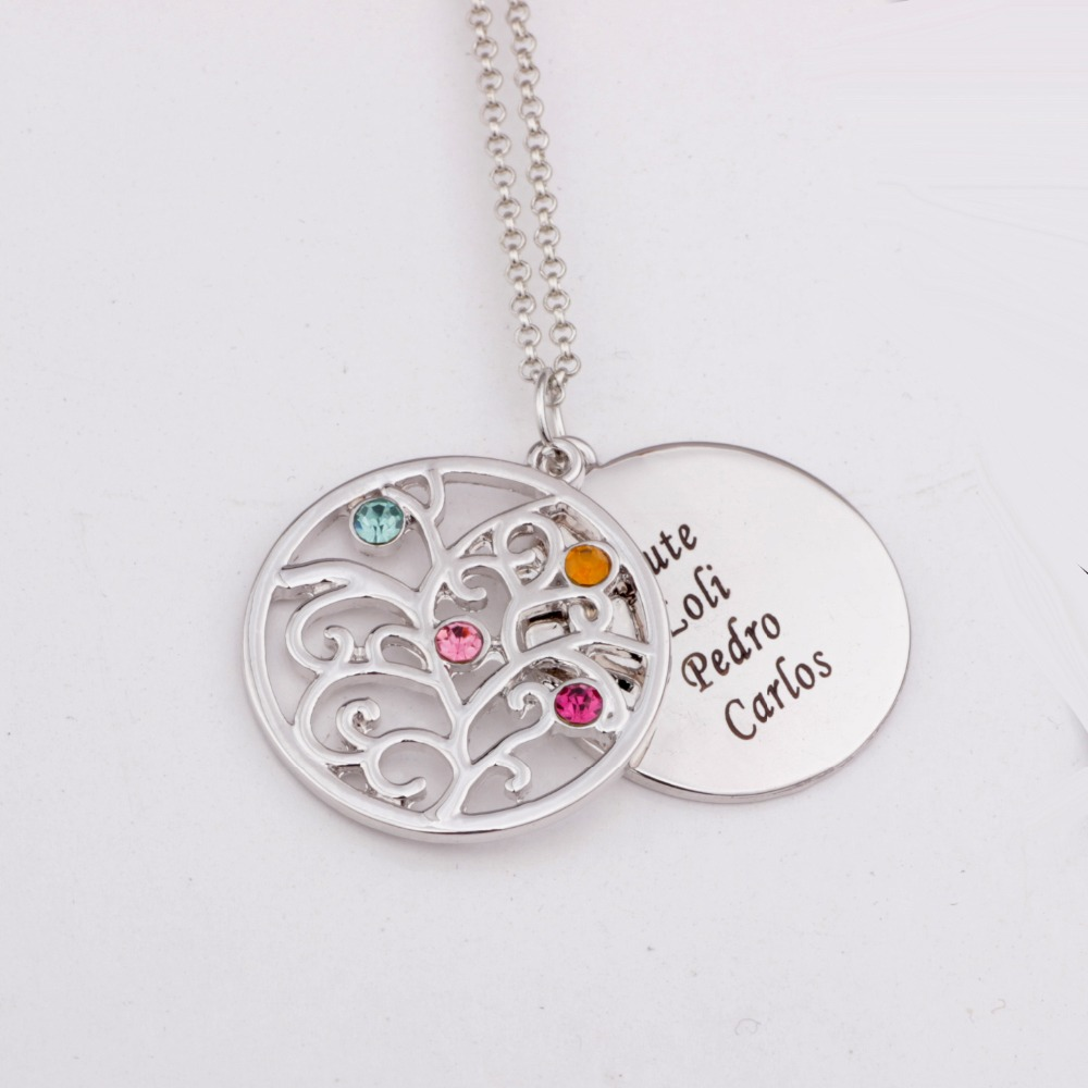 Filigree family tree pendant necklace with birthstones birthstones filigree family tree pendant necklace with birthstones birthstones long necklaces jewelry custom made any name yp2546 in pendant necklaces from jewelry aloadofball Gallery