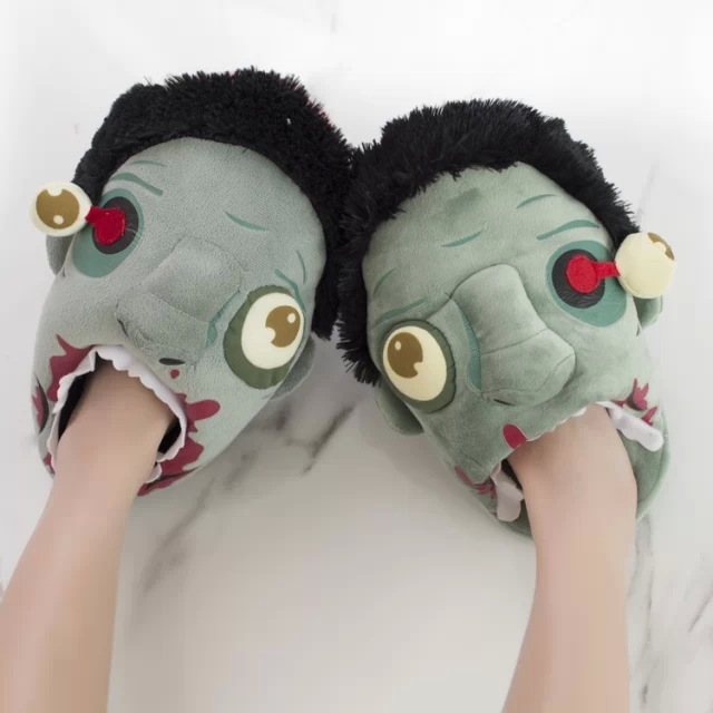 Funny 2016 zombie plush Floor slippers hardcore men women Home cotton slippers shoes Costume party Christmas birthday gift ideas