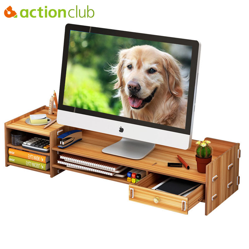 Dual Monitor Stand Desk Organizer Storage Box For Computer Laptop TV Riser Wood