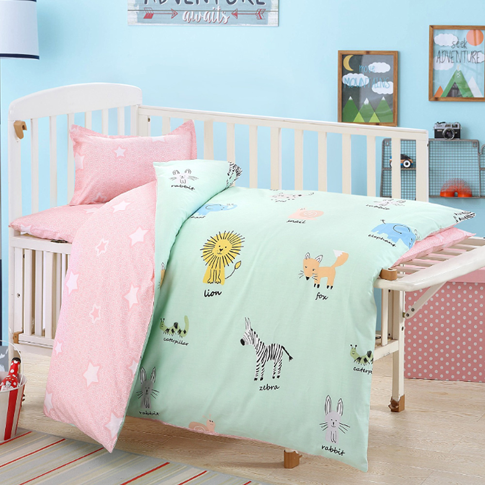 Cotton Crib Bed Linen Kit For Boy Girl Cartoon Baby Bedding Set Includes Pillowcase Bed Sheet Duvet Cover Without Filler