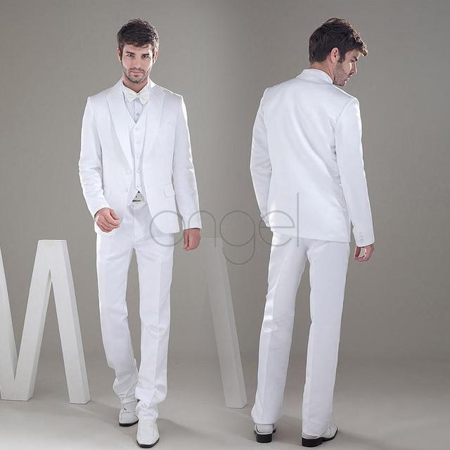 Preço barato-2014 New custom made noivo smoking Shawl Collar dois botões branco do noivo terno do casamento do homem 2014 prom