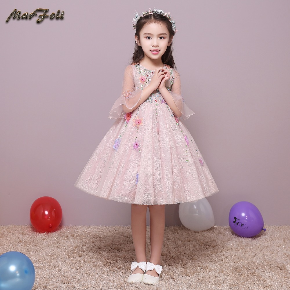 Marfoli Flower Girl Dress Pink A-Line Princess dress Birthday Christmas gift holiday party dress costume for kids #zt002 christmas holiday flower girl dress butterfly princess children dresses for party wedding birthday gift
