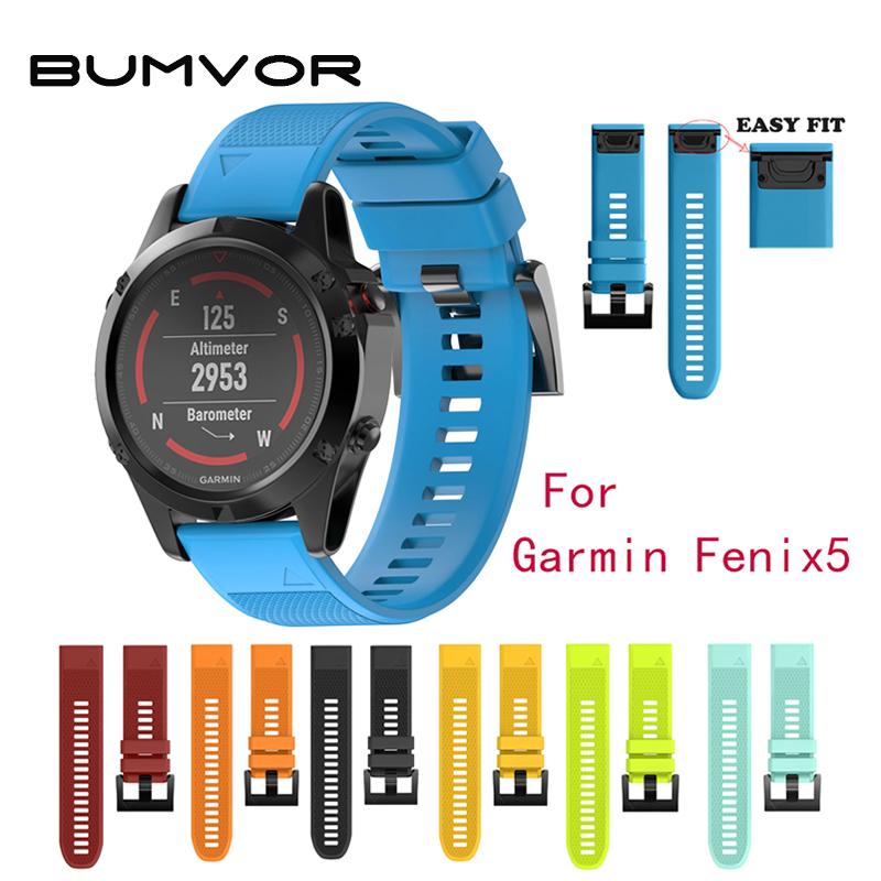 BUMVOR 22mm Width Outdoor Sport watch band Easy Fit Silicone Strap Watchband for Garmin Band, Silicone Band for Garmin Fenix 5 multi color silicone band for garmin fenix 5x 3 3hr strap 26mm width outdoor sport soft silicone watchband for garmin 26mm band