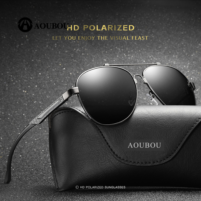 Polarized Man Aluminum Magnesium Memory Bridge of The Nose Large frame Dazzling color lens Politie Trending Lunette de soleil en
