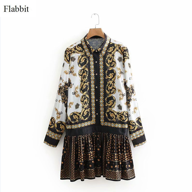 Flabbit women vintage position printing court style mini pleated dress ladies vestidos ruffles casual slim chic dresses DS260-in Dresses from Women's Clothing on AliExpress - 11.11_Double 11_Singles' Day 1