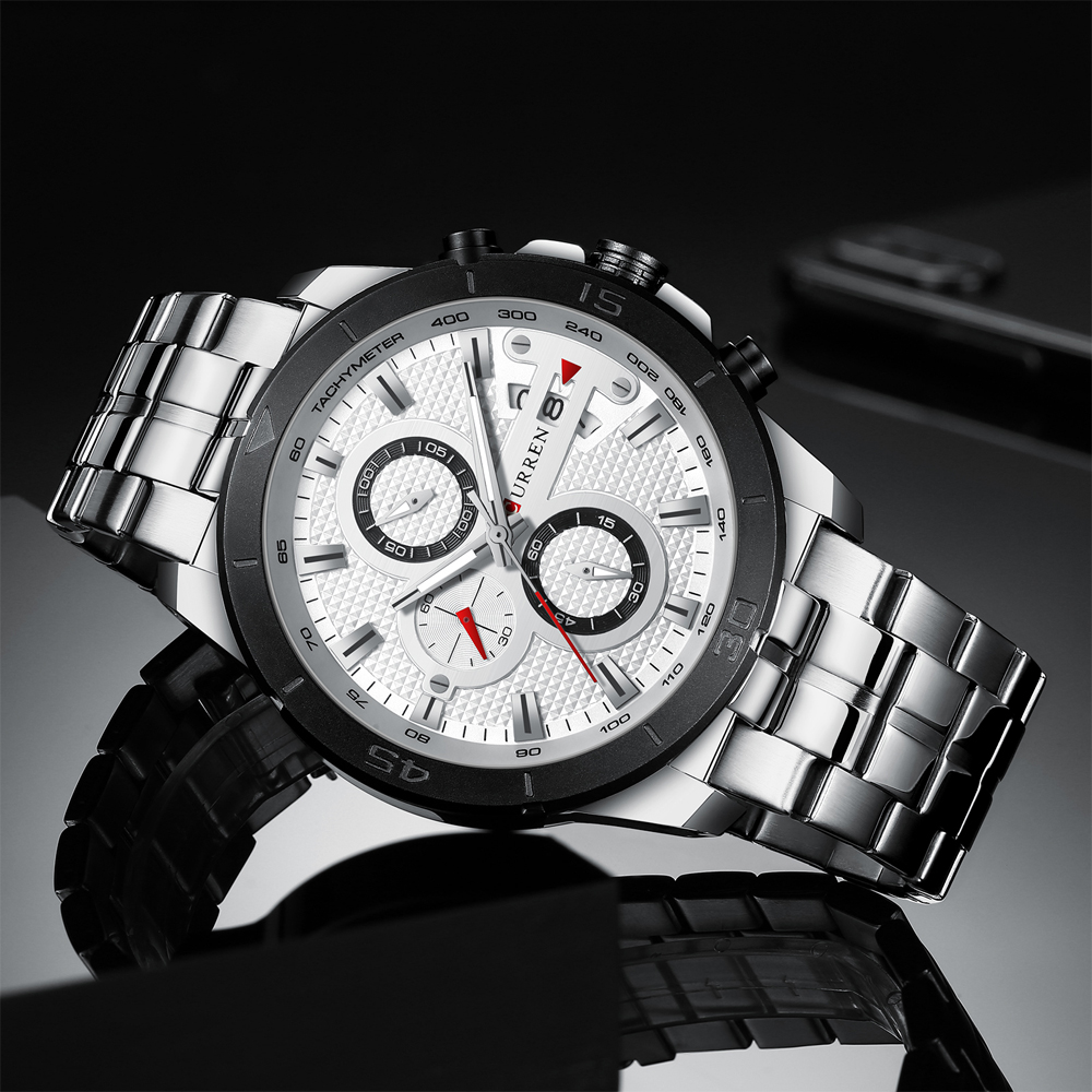 HTB1j8ewcBOD3KVjSZFFq6An9pXaY CURREN Business Men Watch Luxury Brand Stainless Steel Wrist Watch Chronograph Army Military Quartz Watches Relogio Masculino