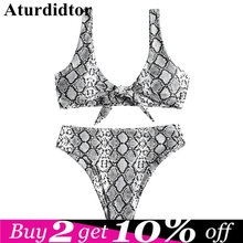 dadb3b4a795f Tied High Rise Waitst Knotted Sexy Snakeskin Bikini Plunging Elastic Animal  Print Two Piece Set Swimsuit