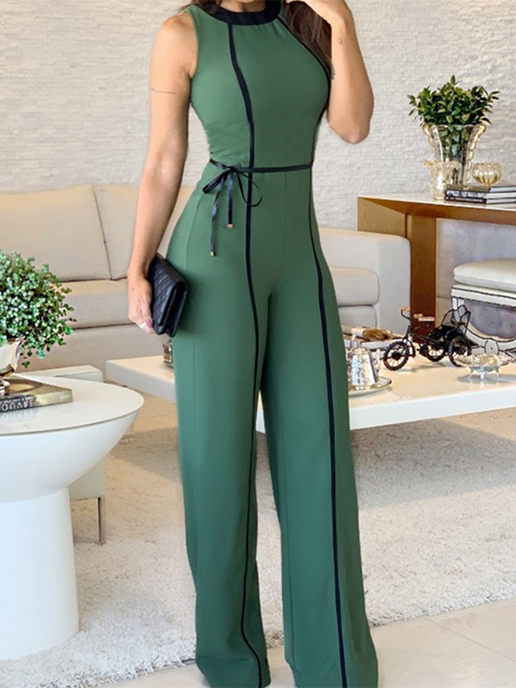 Wide Leg   Jumpsuit   2019 Summer O Neck Green Sleeveless   Jumpsuit   Vacation Elegant Long Playsuit Office Lady Vintage Overalls