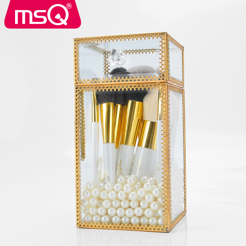 MSQ18 Pcs Pearl White Makeup Brush Suit Full Set of Professional Animal Hair Brush Cosmetic Combination Glass Bucket