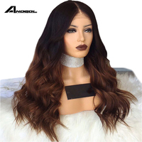 Anogol 24 Inch Ombre Brown Wig Dark Roots Lace Front Wig With Baby Hair Heat Resistant Hair Synthetic Wigs For Black Wom