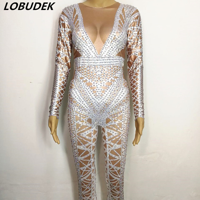 Shining Rhinestones Jumpsuit Female costumes sexy White Crystals jumpsuit performance DJ Singer Dancer Pole dancing stage outfit