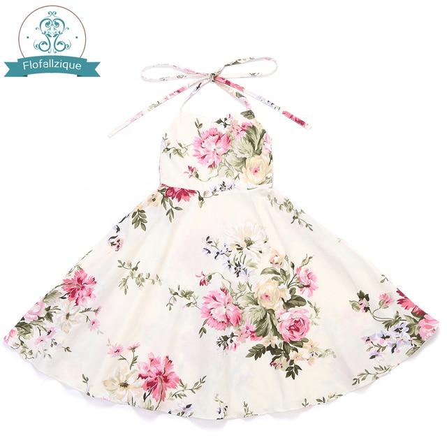 a278849bf8d0 Flower Girl Dress 2017 Summer Vintage Rose Floral Print Frocks Party ...