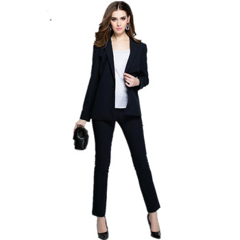 New women Suits With Pants Fashion Lady Ol Vocational Suit Sleeve Business Formal Occasions Women 2 Piece Set Jacket + Pants
