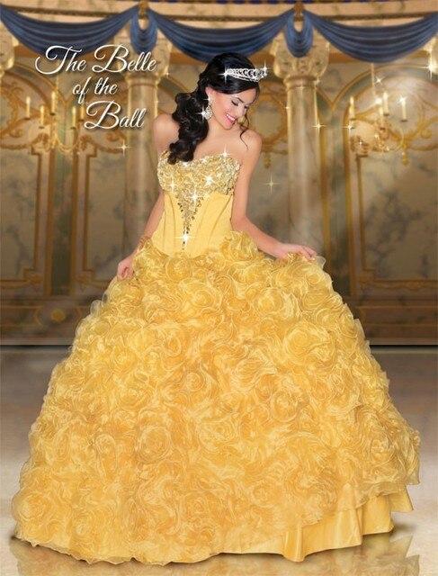 Disny Belle / branca de neve / Merida / Anna e Elsa vestido de baile amarelo Vestidos de Quinceaneras 2015 Jeweled pedras corpete baratos