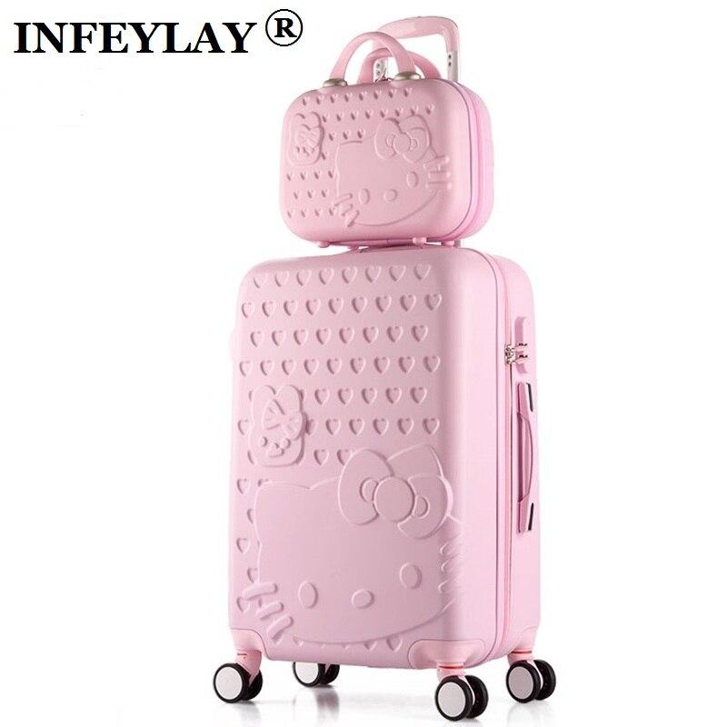 HOT 2 pz/set 14 pollici sacchetto Cosmetico ciao Kitty 20/22/24/28 pollice ragazza trolley caso ABS + PC studenti di Viaggio dei bagagli valigia di rotolamento
