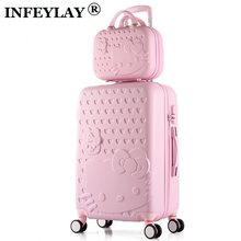 HOT 2PCS/SET 14inch Cosmetic bag hello Kitty 20/22/24/28 inch girl trolley case ABS+PC students Travel luggage rolling suitcase(China)