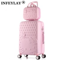 HOT 2PCS SET 14inch Cosmetic Bag Hello Kitty 22 28 Inch Girl Trolley Case ABS PC