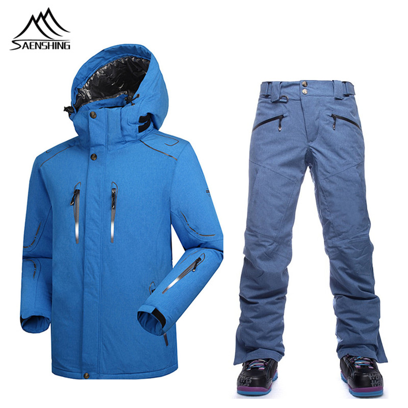 Saenshing Winter Ski Suit Men Windproof Ski Jacket Waterproof 10000 snowboard Pant Breathable Skiing Snowboarding Snow Sets male brand gsou snow technology fabrics women ski suit snowboarding ski jacket women skiing jacket suit jaquetas feminina girls ski
