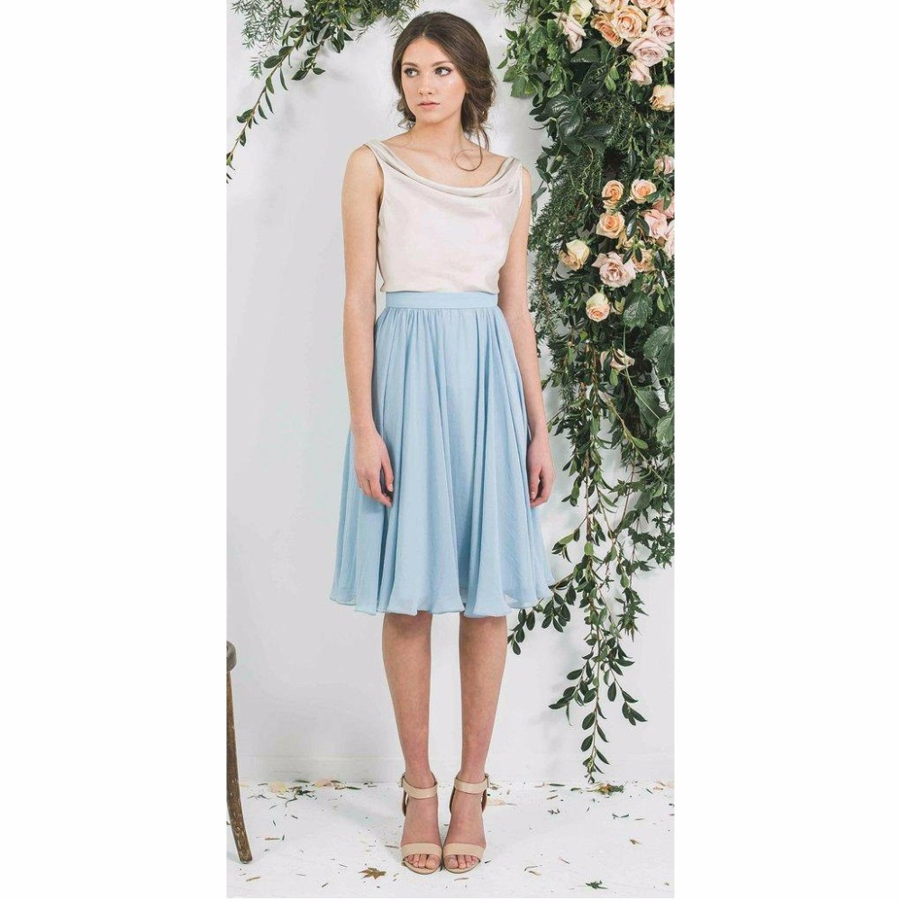 ac4d0f1461bf Modest Knee Length Sky Blue Chiffon Skirts For Women Pleated Midi Skirt  Female Zipper Style Custom Made Female Adult Saias -in Skirts from Women's  Clothing ...