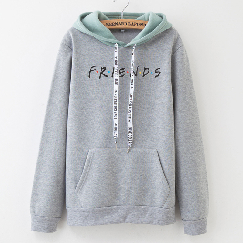 New Hot Sale Embroidery Letters Frends Women's Sweatshirt Stitching Winter Cotton Fleece Fashion Warm Loose Hoodie M - XXL