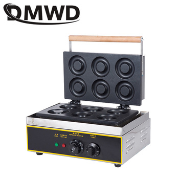 DMWD Commercial Doughnut Baking Machine 6 Grid Egg Waffle Donut Cake Snack maker Stainless steel Electric Breakfast pancake Iron