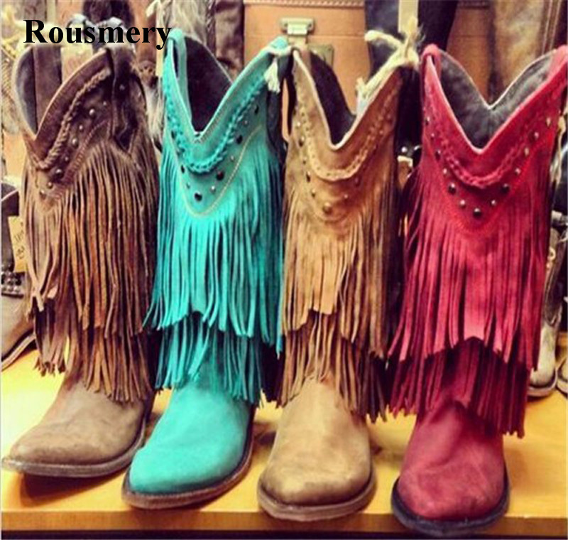 Women Mid-calf Low Heel Bohemia Style Gladiator Motorcycle Boots Fringed Cowboy Boots Shoes Spring Autumn Women Tassel Boots gladiator lady mid calf cowboy flats boots shoes round toe fringed slip on fashion boots leather long sexy boots shoes free ship