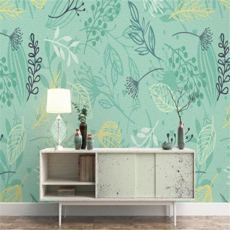 Hand Painted Wallpapers Roll Theme Hotel Murals Green Wall Papers Home Decor Wall Paper Watercolor Plant Living Room Wallpaper x 3309 v folded paper dispenser abs plastic wall mounted paper holder home hotel toilet paper box