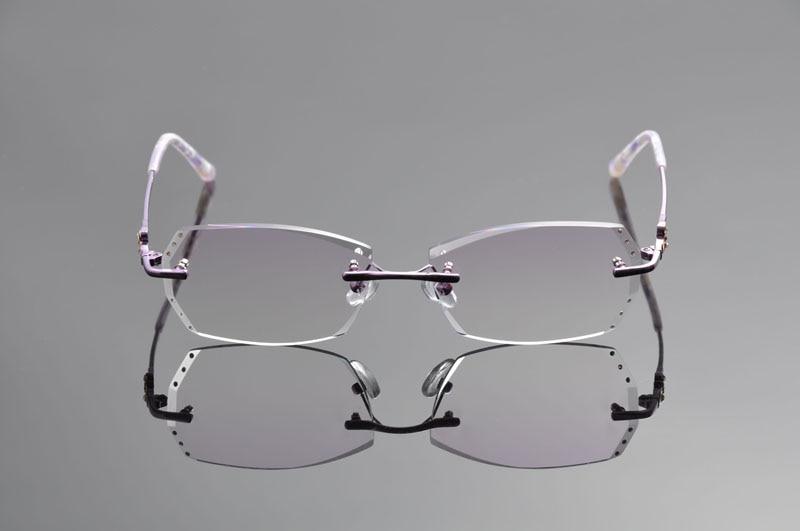 Titanlegierung Gläser Linse Klare Rays Framedd1313 Antiblue Leichte 61 Brillen Rahmen Index Frauen 1 Rx Randlose Deding Purple 5wYfpc