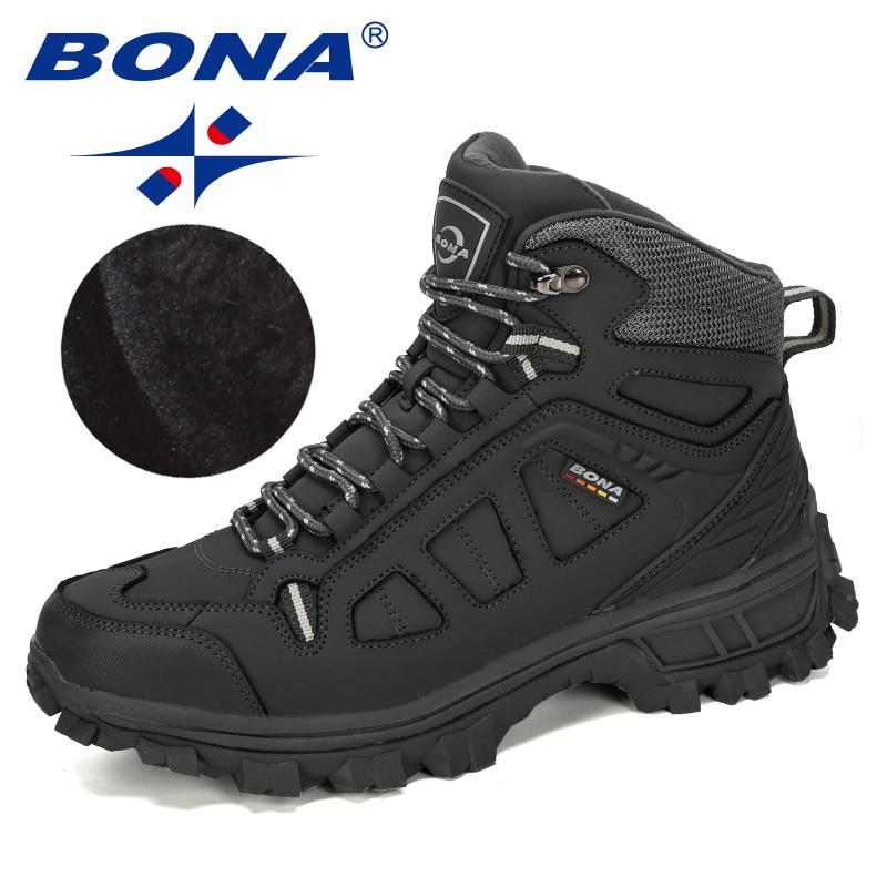 BONA 2019 New Designers Cow Split Warm Boots Men Fashion High Top Sneakers Male Winter Botas Hombre Boots Snow Shoes Comfortable