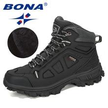 BONA 2019 New Designers Cow Split Warm Boots Men Fashion High Top Snea