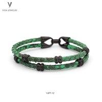 Два круглых Обёрточная бумага наручные браслет Настоящее зеленый Питон кожаные шнуры Браслеты браслет для Для женщин Для мужчин роскошные