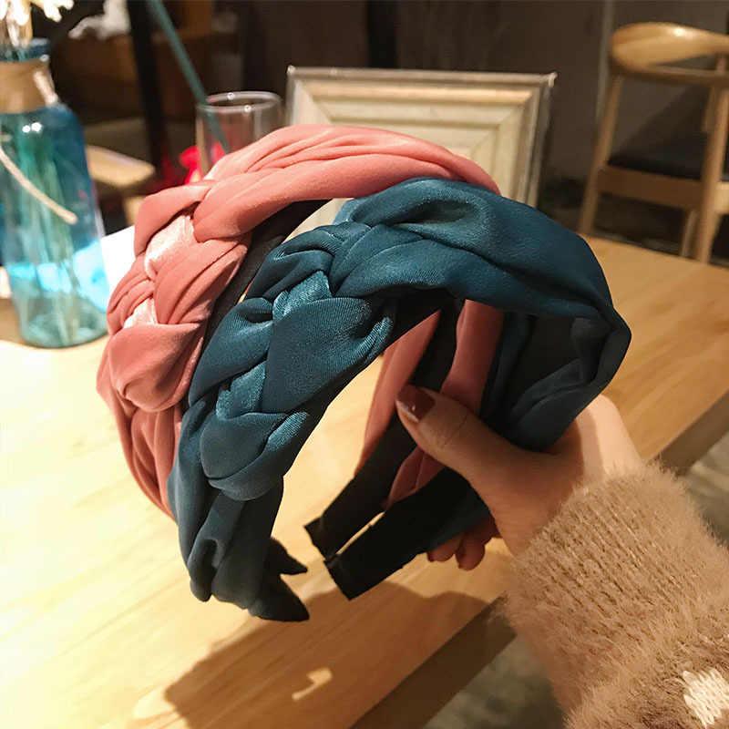 Haimeikang плетеная лента для волос женская хлопковая ткань завязанная повязка на голову винтажные скрученные аксессуары для волос в виде тюрбана широкая лента для волос головной убор