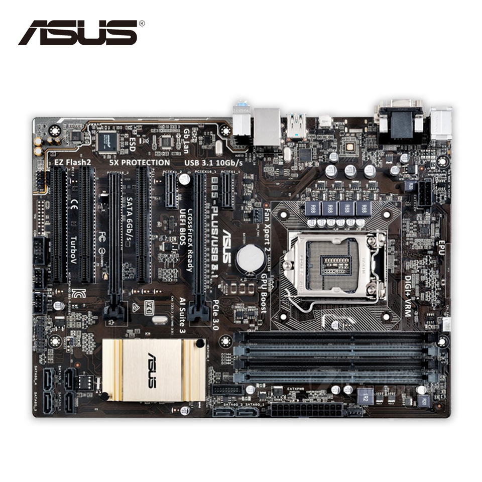 Asus B85-PLUS USB3.1 Original Used Desktop Motherboard B85 Socket LGA 1150 i7 i5 i3 DDR3 32G SATA3 USB3.1 ATX asus h87 plus deluxe board 1150 b85 motherboard
