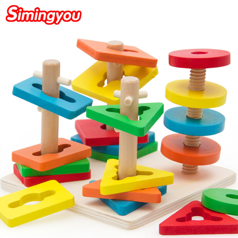 Simingyou Five-column Puzzle Wooden Toy Animal Shape Educational Games For Children C20 DropShipping dkny сумка на руку