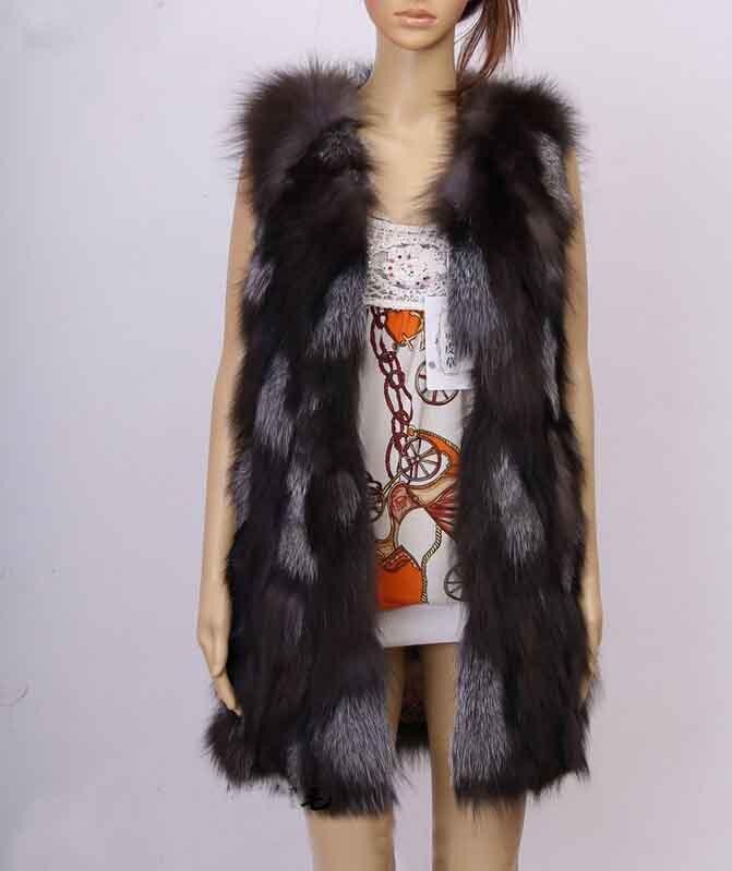 Новое поступление натуральный Лисий мех жилет натуральный Лисий женский зимний жилет Модный FP577 - Цвет: Natural Color