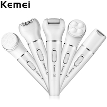 Kemei KM2199 Multifunctional Face Razor Body Epilator Shaver Pore Cleaner Massager Callus Removal Facial Care Tool Sets for Lady