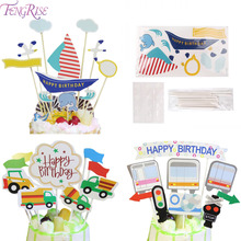 FENGRISE 7 Styles 1set Happy Birthday Cupcake Toppers Party Decor Cake Topper Baby Shower Kids Favors