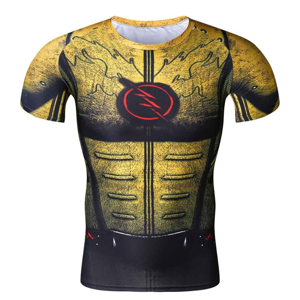 Cosplay Costume Reverse Flash Superhero 3D Printed T-Shirt Men's Short Sleeve Compression Shirt Raglan Clothing Fitne