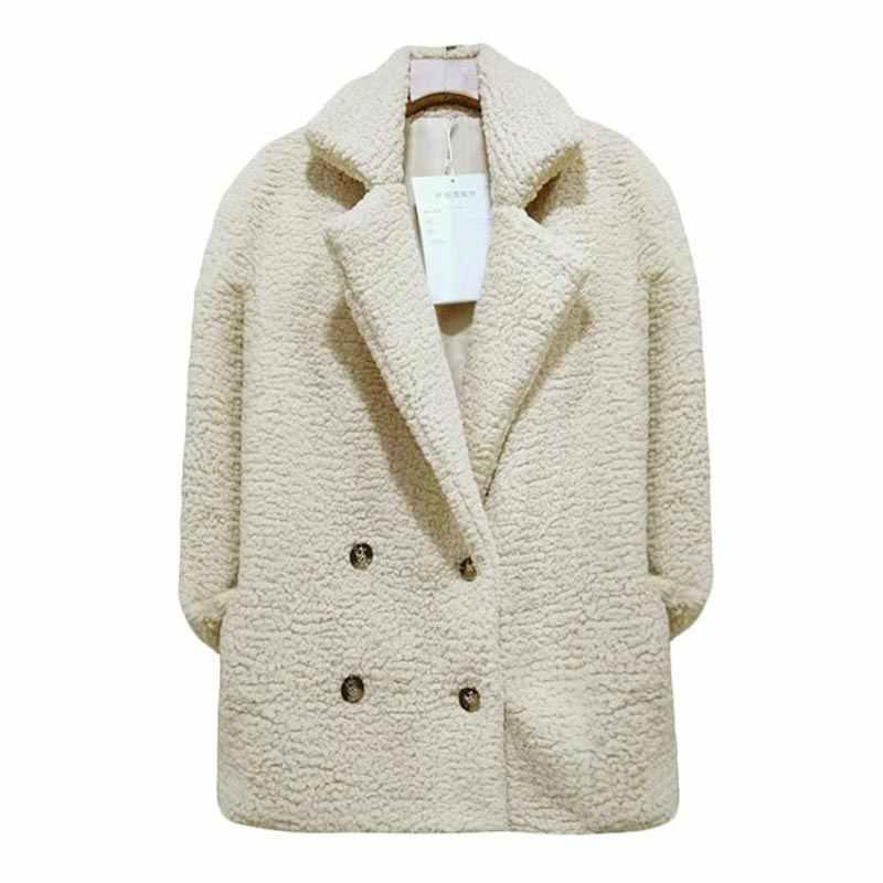 女性のジャケットの毛皮コート冬のフリースのジャケットの女性のコート女性のジャケットプラスサイズフード付きテディ長袖ファーチャケータ mujer