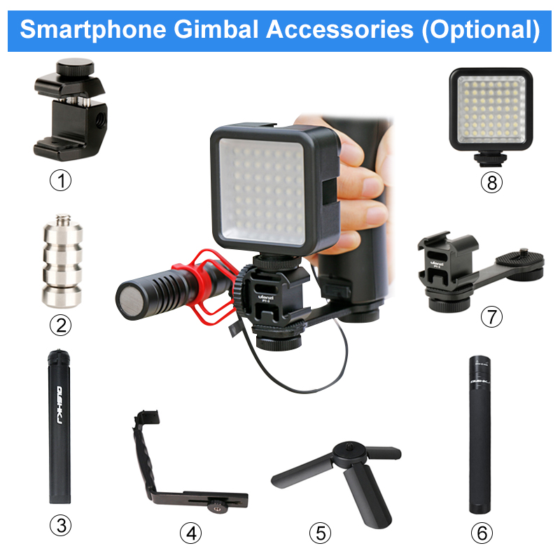 DJI Osmo Mobile 2 3 Accessories Triple Hot Shoe Mount Adapter Microphone Extension Bar Bracket For BY-MM1 For Zhiyun Smooth 4 Q
