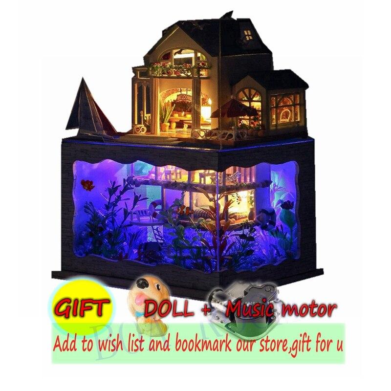 Casa di bambola Casa De Boneca Poppenhuis Hawaii Villa Sul Mare Modello Dollhouse Giocattolo Di Legno Mobili Convertibile Dollhouse TC4