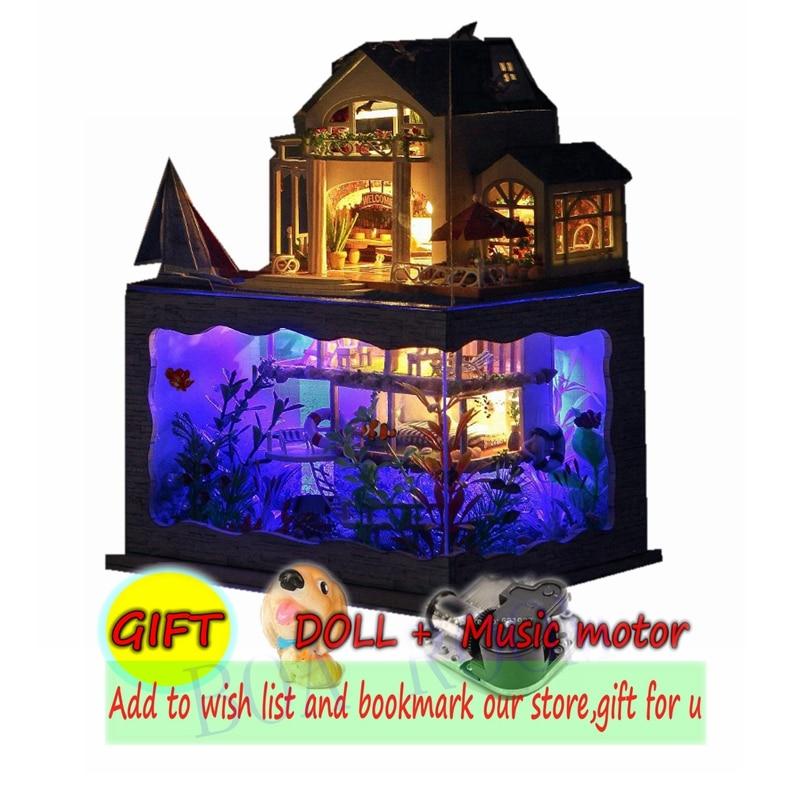 Poupée Maison Poppenhuis Casa De Boneca Hawaii Villa Sur La Mer Dollhouse Modèle En Bois Jouet Meubles Convertible Dollhouse TC4