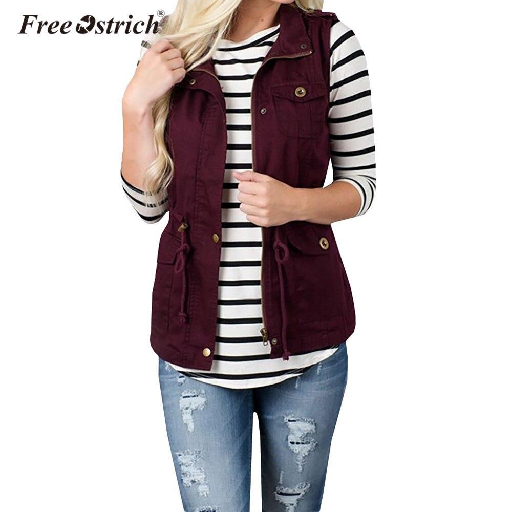 Free Ostrich Vest Winter Warm Sleeveless Slim Military Anorak Vests Solid  Pockets Zipper Gilet Chalecos Para 683b3a3c4ad7