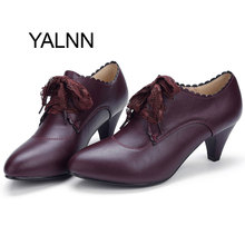 YALNN New Mature Wine Red Fashion Women Leather High heel Shoes Women Winter Office Lady High Heels Shoes Pumps for Girls