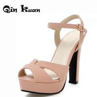European Women High Heels Bukle Strap Summer Ladies Sandals New Fashion Platforms Cut Outs Women Big